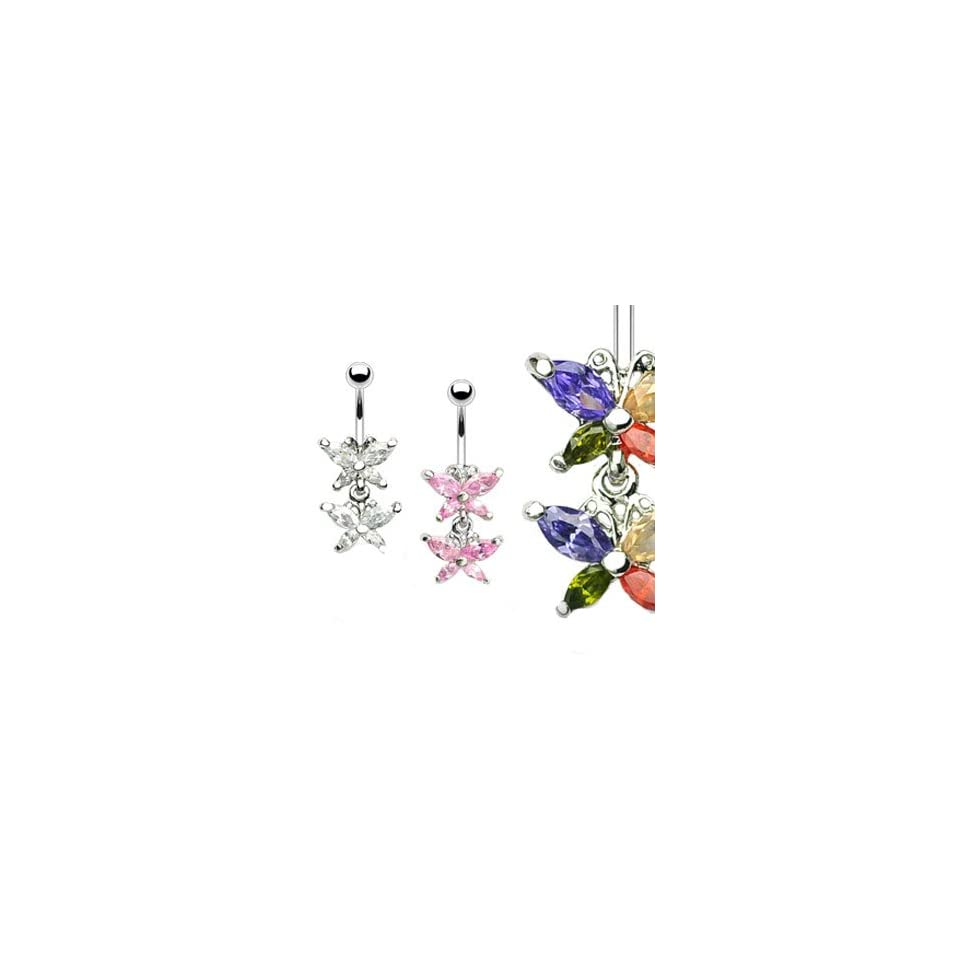 Double jeweled butterfly belly ring, clear