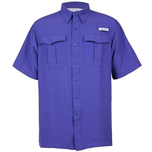 HABIT Men's Belcoast Short Sleeve River Guide Fishing Shirt, Spectrum Blue, X-Large