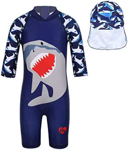 e80efbb066 iEFiEL Kids Baby Boys Girl Swimsuit One Piece Toddlers Bathing Suit Swimwear  with Hat Rash Guard