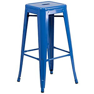 Flash Furniture High Backless Indoor Outdoor Barstool with Square Seat Blue Metal