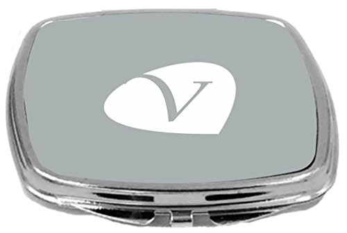 Rikki Knight Letter V Initials Petal Leaves Design Compact Mirror, Paloma Grey, 17 Ounce