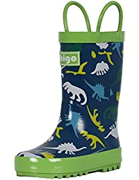 Children's Natural Rubber Rain Boots with Handles Easy for Little Kids & Toddler Boys, Pattern