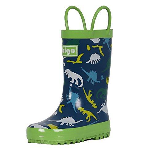 hibigo Children's Natural Rubber Rain Boots with Handles Easy for Little Kids & Toddler Boys Girls, Green Dinosaur