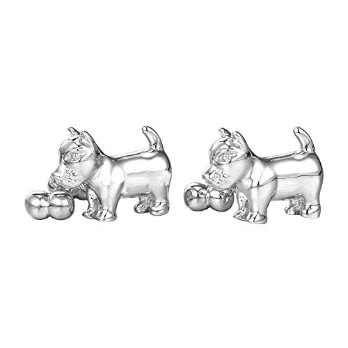 Dog Bone Link (Modern Dog Biting Bone Design Cufflinks Gold Tone - 2 PCS (Platinum))