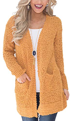 ECOWISH Womens Casual Light Weight Open Front Long Sleeve Solid Knit Sweater Cardigan With Pockets