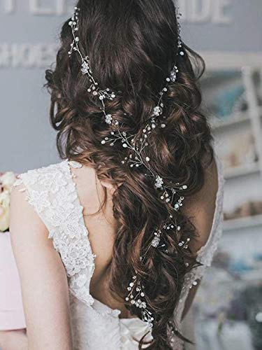 Artio Bride Wedding Hair Vine Accessory Beaded Hair Piece Bridal Headpiece for Women and Girls (Silver)]()