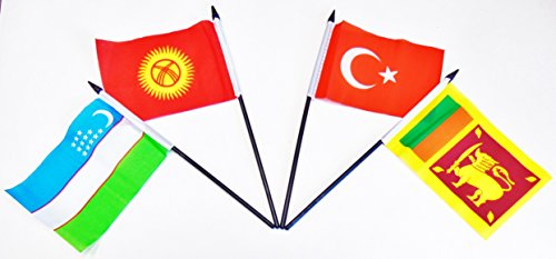 SOUTH CENTRAL ASIA WORLD FLAG SET--20 Polyester 4''x6'' Flags, One Flag for Each Country in South Central Asia, 4x6 Miniature Desk & Table Flags, Small Mini Stick Flags by World Flags Direct (Image #5)