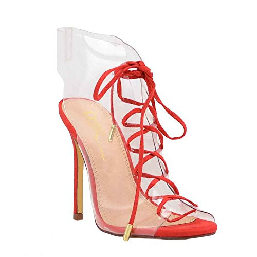Olivia Jaymes Women's Dress Sandal Clear PVC Gladiator Laced Ankle Wrap Stiletto Heel Sandals (7, Red) ()