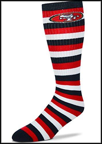NFL San Francisco 49ers Knee High Hi Striped Tube Socks with Team Logo - One Size Fits Most - San Francisco 511