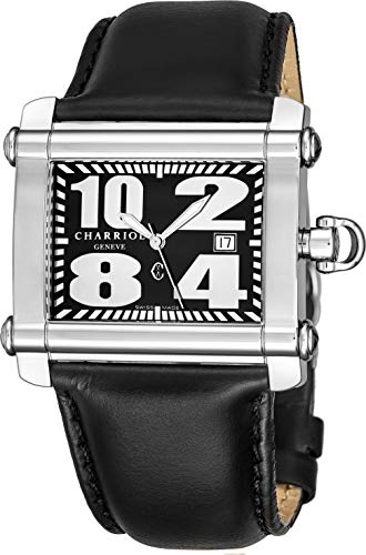 (Charriol Actor Rectangular Mid-Size Swiss Made Watch - Black Face with Luminous Hands, Date and Sapphire Crystal - Stainless Steel Black Leather Band Classic Rectangle Watch CCHL.361.H018 )