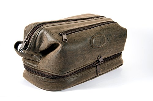Leather Vanity Case (Montana for Him by Danielle Creations Triple Pocket Travel Toiletry Bag, Deep Brown)