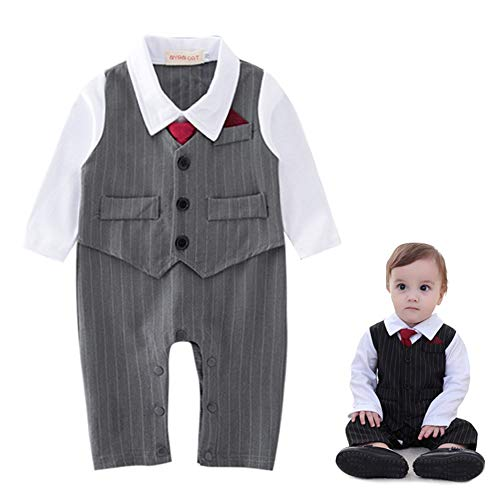 GORBAST Baby Boys' Gentleman Romper Clothes Suit Long Sleeve Winter Oneise Formal Wear Toddler Outfit Wedding with False Coat (90/12-18 Months, 01 Gray)