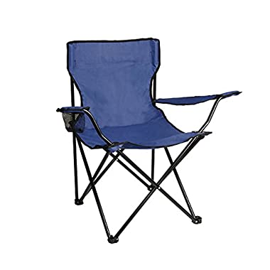 ALEKO BC01 Foldable Camping, Hiking Beach Chair, Outdoor Picnic Lounge, Patio Lawn Garden, Dark Blue