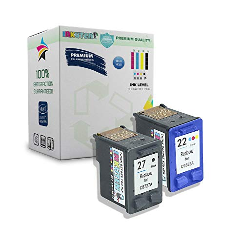 INKUTEN Remanufactured Ink Cartridge Replacement for Hewlett Packard HP 27 22 C8727AN C9352AN (1 Black, 1 Tri-Color) 2-Pack