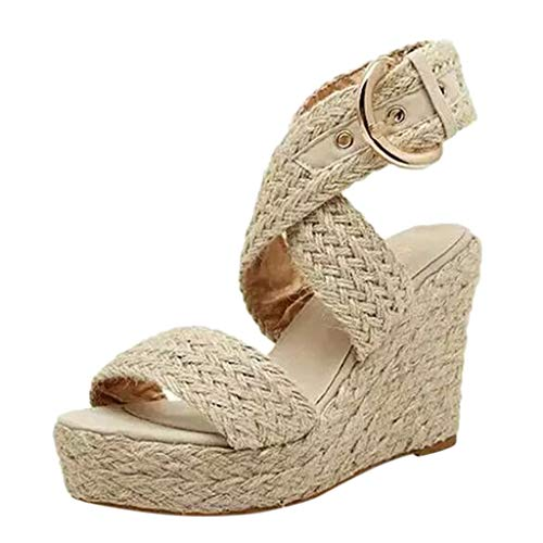 NIKAIRALEY Shoes Womens Big Size Buckle Wedges Sandal Open Toe Ankle Strap Trendy Espadrille Platform Sandals Flats Beige ()