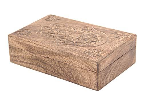 (DharmaObjects Hamsa Hand of Fatima Hand Carved Jewelry Trinket Keepsake Wooden Storage Box (Fatima Hand,)