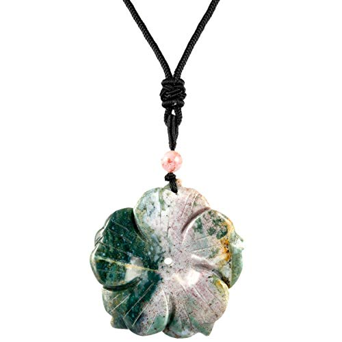 rockcloud Hand Carved Indian Agate Flower Natural Crystal Stone Pendant Necklace for - Indian Agate Pendant