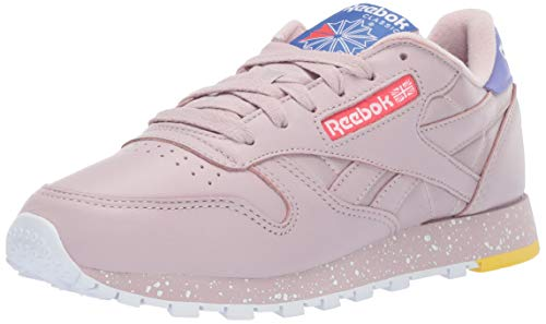 Reebok Women's Classic Leather Sneaker, Ashen Lilac Fog/Cobalt/Rose, 7 M US