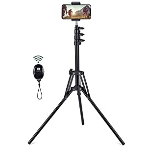 Selfie Stick Tripod, 63″ Extendable Tripod Stand with Wireless Remote for iPhone & Android Phone, Camera, Metal Lightweight – Black