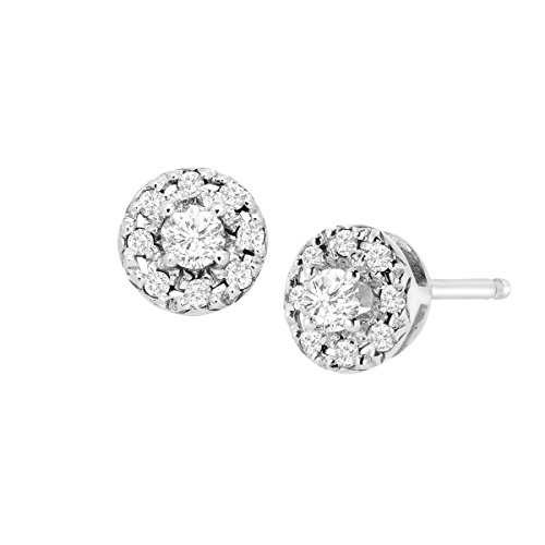 1/4 ct Diamond Round Halo Stud Earrings in Sterling (0.25 Post Earrings)