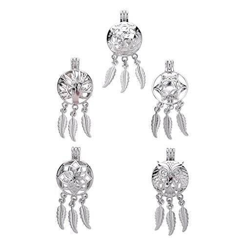 5Pcs/lot Stainless Dream Catcher Pearl Cage Gift Beads Cage Pendant Locket Jewelry Making Supplies-for Oyster Pearls, Essential Oil Diffuser, Fun Gifts (Mix - Dreamcatcher Sterling