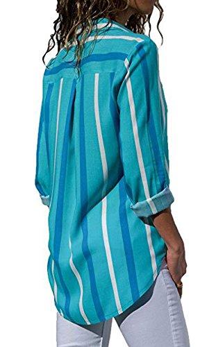 et Bleu Tops Femme Blouse New Tee T Manches Haut V Shirts Printemps Automne Casual Col Shirts Fashion Imprim Longues Chemisiers dHwxqft