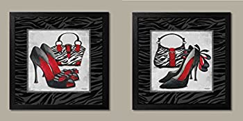 Exotic Zebra Print; Fun Popular Trendy Purse and High-Heel Set; Two 12x12in Black Framed Prints; Ready to hang! Black/White/Red