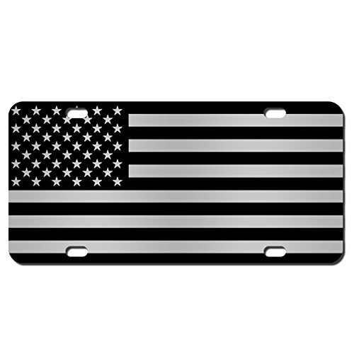 (JASS GRAPHIX American Flag License Plate Matte Black on 1/8