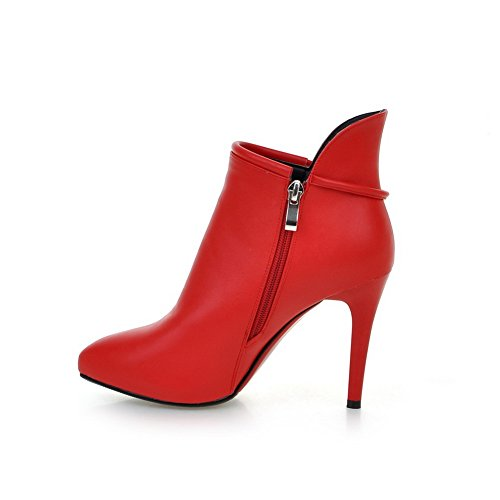 Winkle Zipper BalaMasa Pinker Blend Materials Red Boots Girls Stiletto EHaqaxwA6