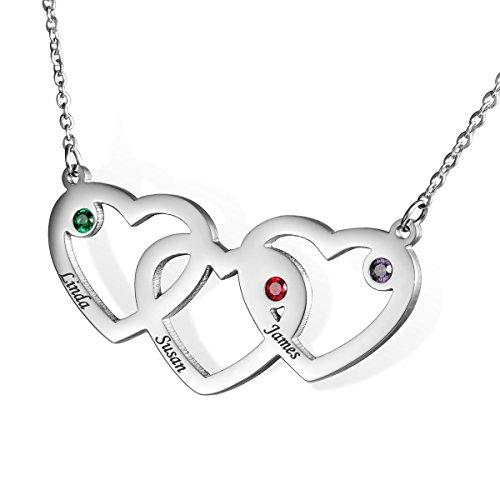 HOUSWEETY Edelstahl-Halskette-Namenskette mit Geburtssteinen - Personalisiert mit Ihrem eigenen Namen