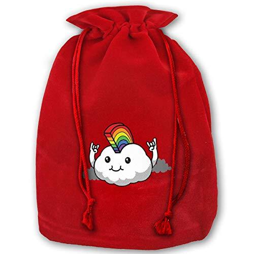 Santa Mohawk - Cloud Rainbow Mohawk Premium Christmas Bags Santa Present Sack Drawstring Bag