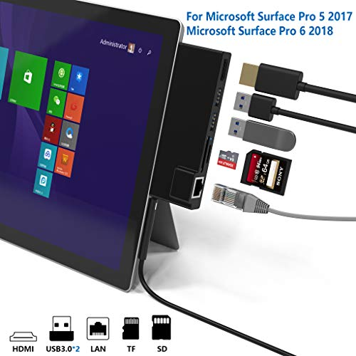 Microsoft Surface Pro 5 /Pro 6 USB 3.0 Hub Docking Station, Cateck Dual USB Card Reader, 2 Port USB 3.0 (5Gps) + Ethernet Port + Mini DP to HDMI + SD/TF(Micro SD) Memory Card Solt Combo Adaptor【Upgrad