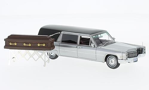 Cadillac S&S Landau Hearse, silver/black, 1966, Model Car, Ready-made, Neo - Cadillac Black Model