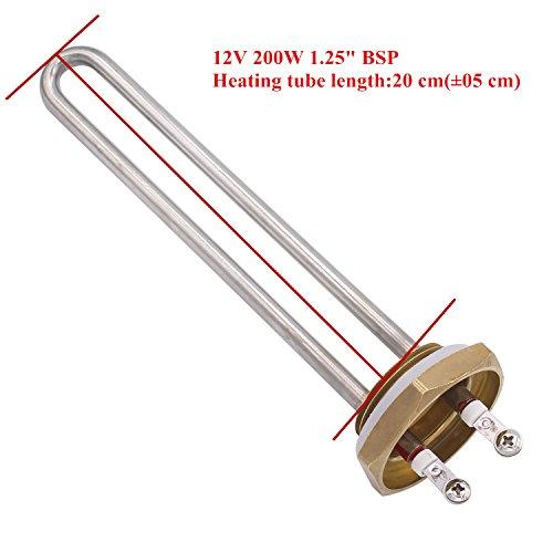 Aiicioo 12v 200w Elemento de Calefacción Material de Acero Inoxidable Grado Alimenticio Resistencia para Calentador 1.25