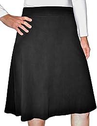 Kids Big Girls' Modest A-Line Knee Length Lightweight Cotton Lycra Skirt