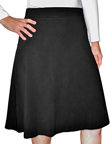 Kosher Casual Women's Modest Knee-Length A-Line Lightweight Cotton Lycra Skirt Large Black