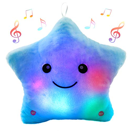 Bstaofy Creative Musical Glow Twinkle Star Lullaby Light up Stuffed Toys Animated Soothe Kids Emotions Christmas Festival Gift for Toddlers, Blue