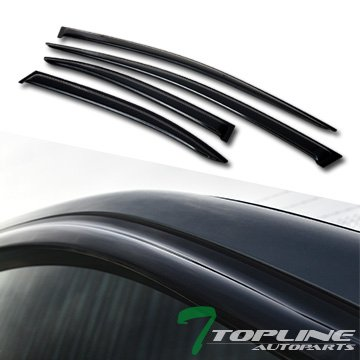 Topline Autopart Smoke Window Visors Deflector Vent Shade Guard 4 Pieces For 08-17 Mitsubishi Lancer