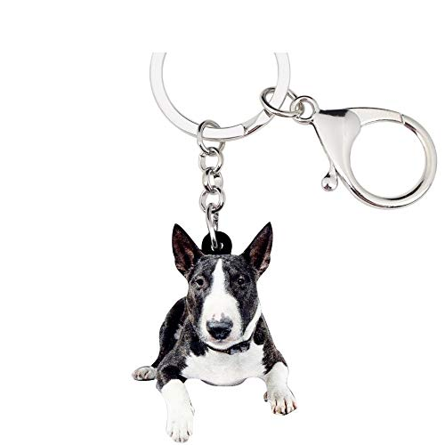 (PAPPET Bulldog Keychain American Pit Bull Key Chain Terrier Dog Car Keyring Puppy Pet Bag Handbag Wallet Charm Pendant Backpack Accessories Valentines Birthday Gifts for Dog Lovers)