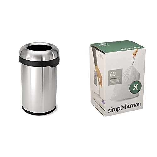 Stainless Steel Bullet (simplehuman 80 litre bullet open can heavy-gauge brushed stainless steel + code X 60 pack liners)