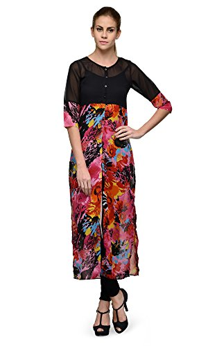 Indi-Dori-Poly-Georgette-Black-Pink-Front-Open-Long-Casual-Kurti