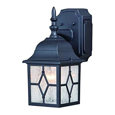"""Galeana Textured Black 12.5"""" Outdoor Wall Light w/GFCI Outlet"""