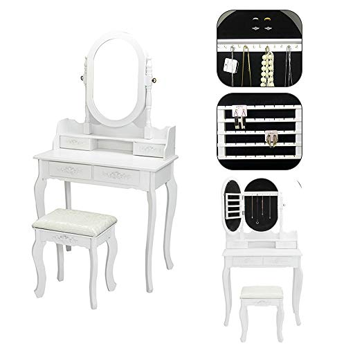 SSLine Wood Makeup Vanity Set Jewelry Cabinet with Mirror Dressing Table with Cushioned Stool Lockable Jewelry Armoires White Finish 2-Piece Vanity Table with Chair (Armoire Piece 2)