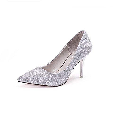 Absatz PU Wies Stiletto Heel Silver Lässig Flacher Kleid Lady Mund Sommer High Hochzeit Schwarz RENHONG Silber Schuh wTXUWtnqPU