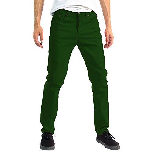 Alta Designer Fashion Mens Slim Fit Skinny Denim Jeans - Green - - Green Denim