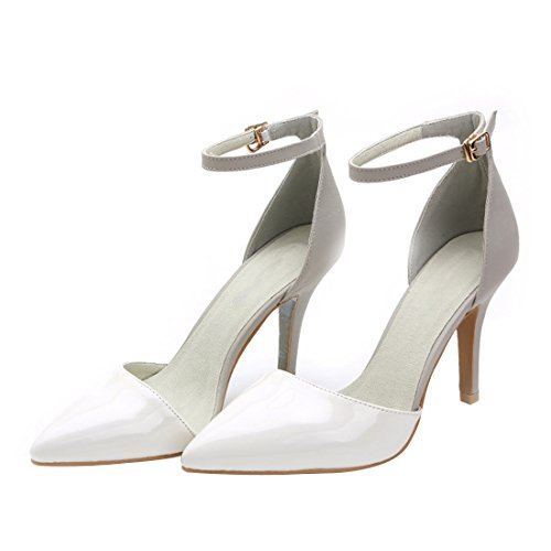 HooH Women's Patent Leather Ankle Strap Sandals Stiletto Pumps White W2yUEY