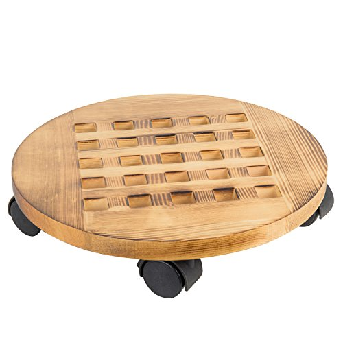 Planter Large Lattice (MyGift Torched Wood Rolling Planter Caddy with 360º Rotating Casters)