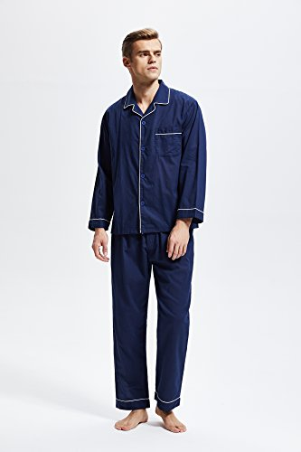 Men's 100% Cotton Pajama Set, Long Sleeve Woven Sleepwear from Tony & Candice (X-Large, Navy Blue with White Piping) by TONY AND CANDICE (Image #1)