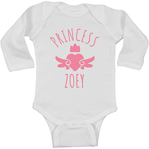 FUNNYSHIRTS.ORG Cute Princess Zoey Heart Onesie: Infant Long Sleeve Bodysuit (Hearts Zoey)