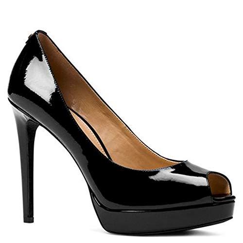 Michael Kors Womens Erika Patent Leather Platform Peep Toe Pumps (8.5 M, Black)